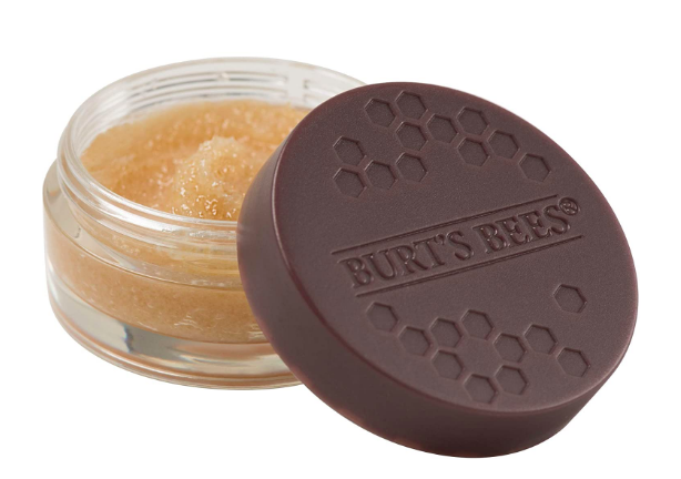 exfoliating lip scrub with beeswax and honey crystals